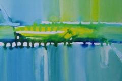 Bild Nr. 47, Acrylbild 50×50, Leinwand auf Keilrahmen, gemalt und Gießtechnik, helle Stellen mit Acryl-Silberstift ausgefüllt, feinste Künstlerfarbe, original handgefertigt (2019), Unikat