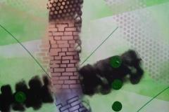 Bild Nr. 104, Acrylbild 60×80, Leinwand auf Keilrahmen, gemalt mit feinster Künstlerfarbe, zwei Farben grün, Silberspray und Sprayweiß, Permanent Marker, original handgefertigt (2019), Unikat