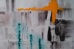 Bild Nr. 127, Acrylbild 80×80, Leinwand auf Keilrahmen, gemalt und gespachtelt, feinste Künstlerfarbe, mit Silberlack versehen, original handgefertigt (2020), Unikat