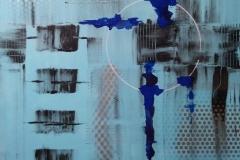 Bild Nr. 128, Acrylbild 80×80, Leinwand auf Keilrahmen, gemalt und gespachtelt, feinste Künstlerfarbe, mit Silberlack versehen, original handgefertigt (2020), Unikat