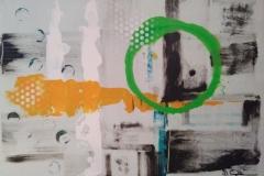 Bild Nr.138, Acrylbild 50 x 70, Leinwand auf Keilrahmen, gemalt und gespachtelt, feinste Künstlerfarbe, Sprayweiß, Schablone, original handgefertigt ( 2021 ), Unikat