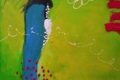 Bild Nr.140, Acrylbild 50 x 70, Leinwand auf Keilrahmen, gemalt mit feinster Künstlerfarbe, Untermalung gelb, original handgefertigt (2021), unikat