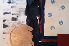 Bild Nr.142, Acrylbild 60 x 80, Leinwand auf Keilrahmen, kreisförmiges Gesso Element, gemalt und gespachtelt, Untergrund Siena mit Weiß, feinste Künstlerfarbe, Goldspray, original handgefertigt (2021), Unikat