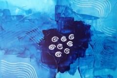 Bild Nr. 14, Acrylbild 50 x 50, Leinwand auf Keilrahmen, gemalt und gespachtelt, drei Farben Blau, feinste Künstlerfarbe, original handgefertigt ( 2020), Unikat