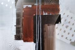 Bild Nr. 59, Acrylbild 50 x 50, Leinwand auf Keilrahmen, Gesso Untergrund, gemalt und gespachtelt, mit Silberlack versehen, original handgefertigt ( 2019 ), Unikat