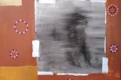 Bild Nr. 90, Acrylbild 50 x 50, Leinwand auf Keilrahmen, Kreisförmiges Gesso Element, gemalt und gespachtelt, feinste Künstlerfarbe, feine Goldfarbe, original handgefertigt (2019), UNIKAT