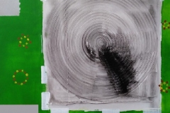 Bild Nr.95, Acrylbild 50 x 50, Leinwand auf Keilrahmen, große Kreisförmige Gesso-Struktur, gemalt und gespachtelt, feinste Künstlerfarbe, Silberspray , original handgefertigt ( 2019 ), Unikat