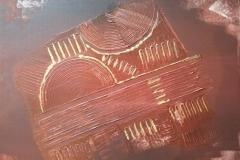 Bild Nr. 44, Acrylbild 40 x 40, Leinwand auf Keilrahmen, mit sienna gebrannt gemalt ( auch die Kanten ), Gesso-Struktur erhabene Stellen mit feinster Goldfarbe bemalt, original handgefertigt ( 2019 ), Unikat